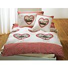 Bettwäsche mit Herzen im rot-weissem Karo-Design – Kissenbezug – 65x100 cm