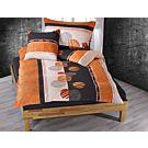 Bettwäsche mit Kreismotiv in orange-anthrazit – Duvetbezug – 240x240 cm