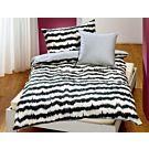Bettwäsche schwarzes Zickzack-Muster auf cremefarbenem Hintergrund – Kissenbezug – 50x70 cm
