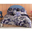 KAS Bettwäsche mit blauen Palmenblättern auf weissem Untergrund aus Baumwolle – Kissenbezug – 50x70 cm