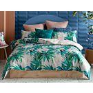 KAS Bettwäsche mit Blätterprint in den Farbtönen Grün und Zartrosa aus Baumwolle – Duvetbezug – 160x210 cm