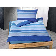 Bettwäsche mit blauen Querstreifen