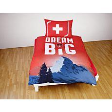 """Schweizer Eishockey Bettwäsche mit einem Berg und """"Dream Big"""" Schriftzug"""
