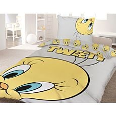 Bettwäsche mit lustigem Tweety Gesicht auf hellgrauem Untergrund