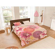Bettwäsche mit Mandala- und Blumenmuster in rosa Farbtönen