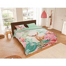 Bettwäsche mit Hirsch und Blumen-Muster