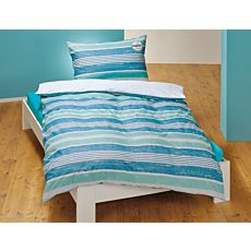 Bettwäsche in farbigem Streifenmix in Blau- und Minttönen