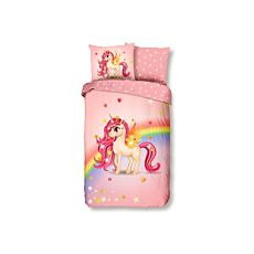 Bettwäsche rosa mit Einhorn, Sternen und Regenbogen