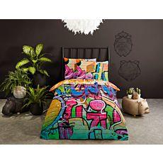 Bettwäsche mit buntem Graffiti-Motiv