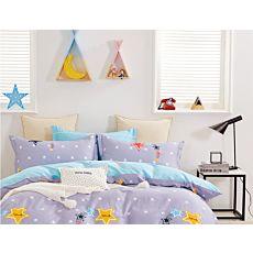 Bettwäsche mit bunten Sternen auf hellem Lila