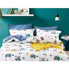 Bettwäsche mit bunten Autos und Häusern