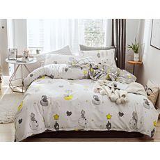 Bettwäsche mit kleinen Elefanten auf Wolke und Mond