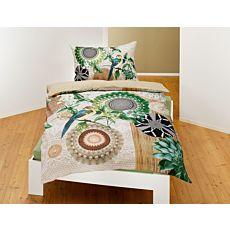 Bettwäsche mit Mandalas, Blumen und Vogel