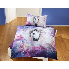 Bettwäsche weisses Einhorn auf lila Untergrund