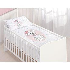 Bettwäsche weiss gemustert mit Dalmatiner-Baby und Kätzchen