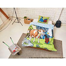 Bettwäsche Globi und Kühe beim Alpabzug