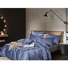Bettwäsche mit Parkettmuster und weissen Punkten in schönem Blauton