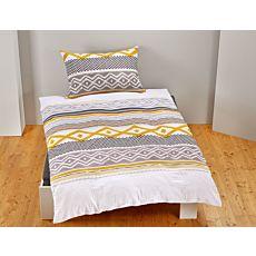Bettwäsche mit Inka-Musterung gold-grau