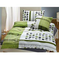 Bettwäsche grün gestreift und gepunktet