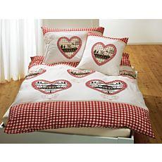 Bettwäsche mit Herzen im rot-weissem Karo-Design