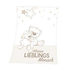 Kuscheldecke weiss mit kleinem Teddybär