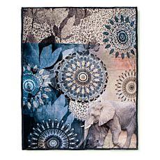 Weiche, flauschige Fleecedecke mit Elefant und Mandala-Dessin