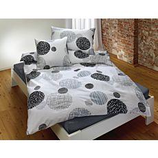 Bettwäsche weiss mit Kreisen in grau und schwarz