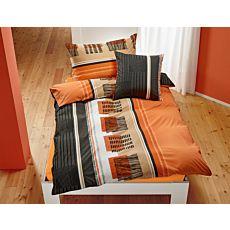 Bettwäsche mit modernem Muster in orange-anthrazit
