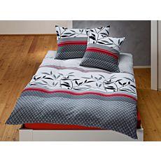 Bettwäsche in weiss-schwarz-rot mit Blättermuster