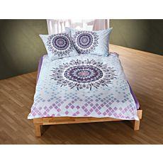 Bettwäsche mit Mandala-Muster in zarten violett und türkis Tönen