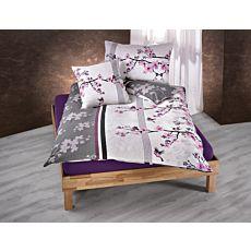 Bettwäsche mit schönen Kirschblüten violett-anthrazit