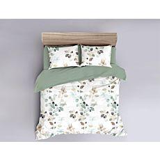Bettwäsche mit bunten Blättern auf weissem Grund