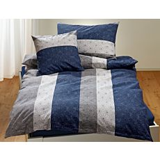 Bettwäsche blau-grau mit Längsstreifen und Sternen