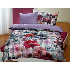 Bettwäsche mit Blumen- und Streifen-Muster