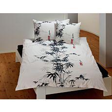 Bettwäsche weiss mit Bambuspflanze schwarz-grau