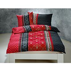 Bettwäsche gemusterte Streifen schwarz-rot