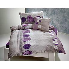 Bettwäsche in Hellgrau mit Blütenmotiv lila-weiss