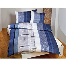 Bettwäsche mit schlichtem Muster und Streifen blau