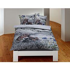 Bettwäsche Alpenmotiv mit Kuh und Holzmuster