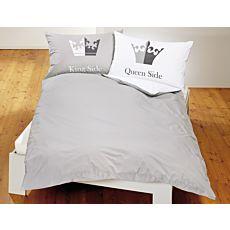 """Bettwäsche Print """"King Side"""" und """"Queen Side"""" in Weiss-Grau"""