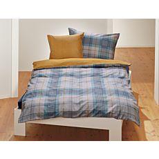 Bettwäsche mit blau-grauem Karomuster