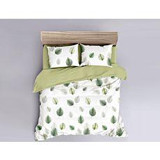 Bettwäsche in weiss/grün mit Blattmuster
