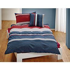 Bettwäsche gestreift in den Farben rot und grau