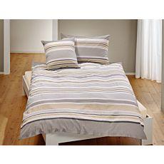 Bettwäsche in grauem Streifen
