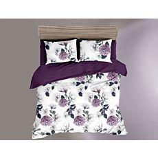 Bettwäsche mit floralem Muster in weiss und violett