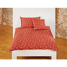 Bio Bettwäsche mit Ornamenten auf rostfarbenem Untergrund
