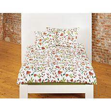 Bio Bettwäsche mit floralem Muster in Rost- und Grüntönen