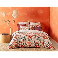 KAS Bettwäsche Ada mit Blumenmuster orange-rot