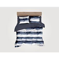 Bettwäsche mit weiss-blauem Streifenmix