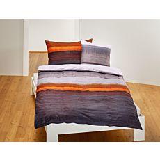 Bettwäsche Querstreifen orange-grau